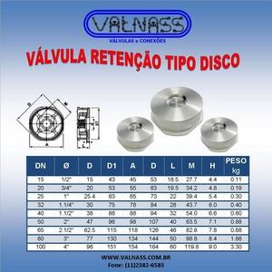 Válvula retenção tipo disco